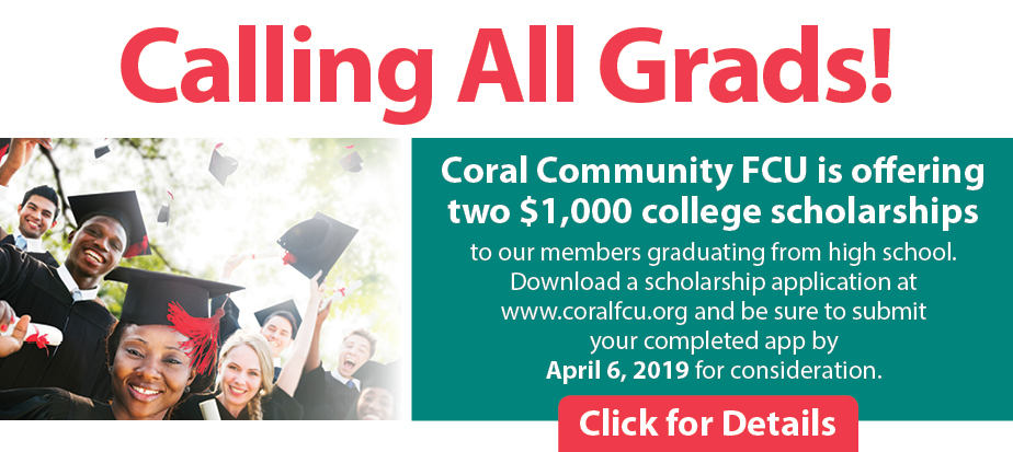 Each year we offer two $1,000 college scholarships to our members graduating from high school